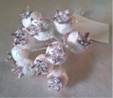 Vánoční přízdoba Šípek třpitivý bílý malý  TY86-2732