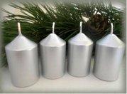 Bony Svíčka adventní 4ks - stříbrná 40 x 60 mm