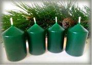 Bony Svíčka adventní 4ks -tmavě zelená 40 x 60 mm