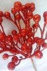 Vánoční přízdoba Bobule glitr Červené  TY86-1064